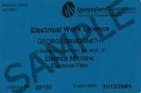 Electrical worker license